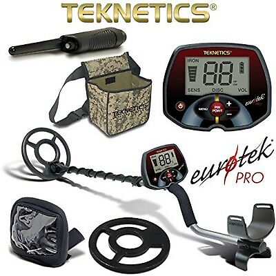Teknetics Eurotek Pro Metal Detector with Coil Cover Rain Cover Pouch PinPoin...