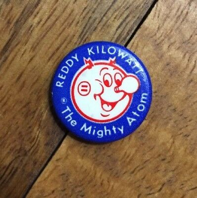 "Vintage Reddy Kilowatt The Mighty Atom 1"" Button, Pin"