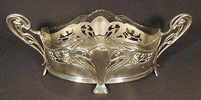 C.1905 Wmf Art Nouveau Vase / Centre Piece Silver Plated Ep 4 Footed Gd Cond.