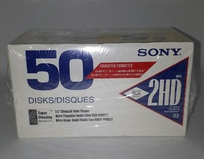 "New Sealed Sony 2HD 3.5"" Formatted 50 Disk Micro Floppydisk"