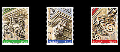 2016  Malta Balcony Corbels set of three stamps  Mint NH  VF