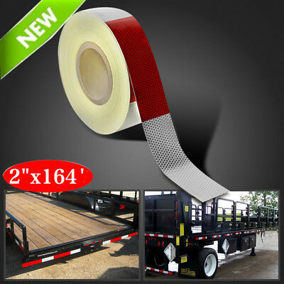 "2""x164' Red White Approved DOT-C2 Reflective Conspicuity Trailer Tape Safety BP"