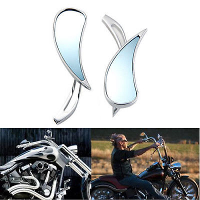 2X Universal Chrome Motorcycle Cruiser Teardrop Side Rear View Mirrors 8mm 10mm