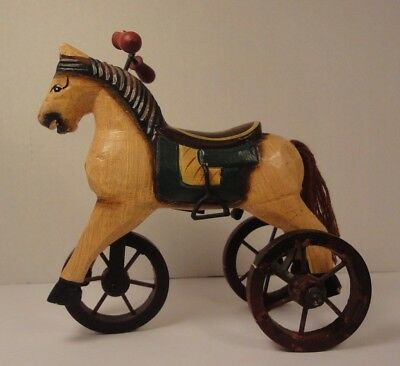 Vintage Style Wood Victorian Tricycle Horse Miniature Home Decor Christmas