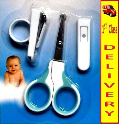 3Pcs Baby, Kids Manicure Set With Scissors- Nail Clipper-Safety Sleeve