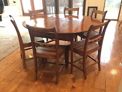 Georgian Mahogany Dropside Dining Table w/ 6 Fruitwood Chairs (c. 1800 - 1820)