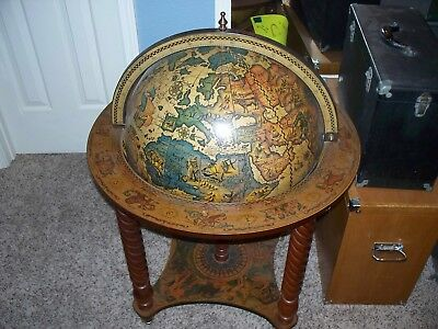 Beautiful Wood Antique that is a Revolving World Globe Bar - top lifts up