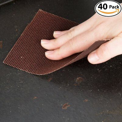 Griddle Kings Pro-Grade Grill Screens 40 Pack. Scrub Away Burnt-On Grease & Mesh