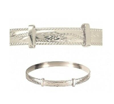 Solid Sterling Silver Expanding 'patterned' Baby Bangle With Engraved Rope Edge