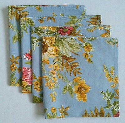 "RALPH LAUREN Dinner Napkins Set of 4 ""Brittany"" Blue Multi-Colour Floral Cotton"