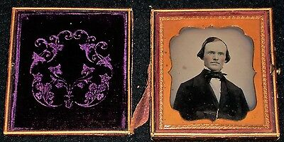 Vintage Mid-1800's 1/6th Plate Ambrotype of Headshot of Man/Leather Case