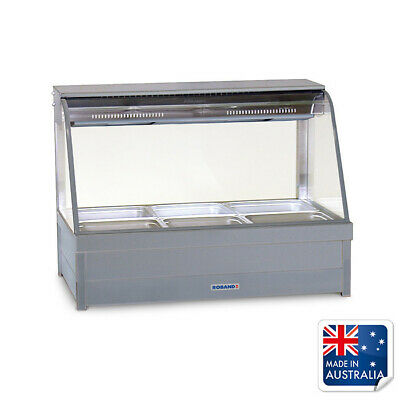 Bain Marie / Hot Food Display Curved Double Row 6x 1/2 Pans & Doors Roband C23RD