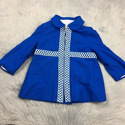 Vintage Toddler Girls 60s Blue White Checkered Mod Jacket Coat *Flawed
