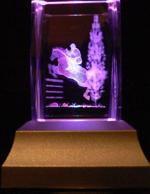Horse Racing Laser Inscribe Crystal LED Night Light Gift SPT001