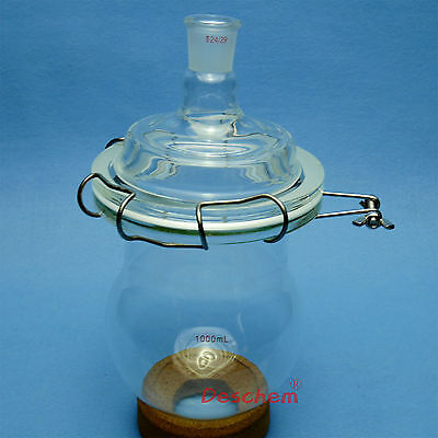 1000ml 24/29 Glass Reactor,Single Neck,1L,Reaction Bottle,W/Steel Clamp And Lid