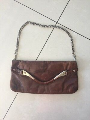 Vintage Designer Kenneth Cole Brown Distressed Leather Chain Shoulder Bag