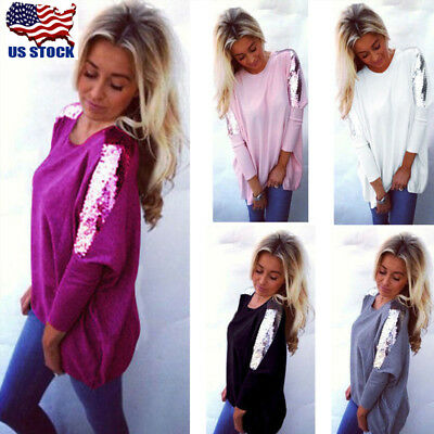 US Womens Lady Sequins Casual Loose Long Sleeve Blouse Tops Party Shirt Pullover