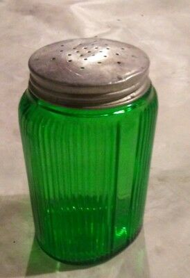 Vintage Owens Illinois Forest Green Canister Jar Silver Lid