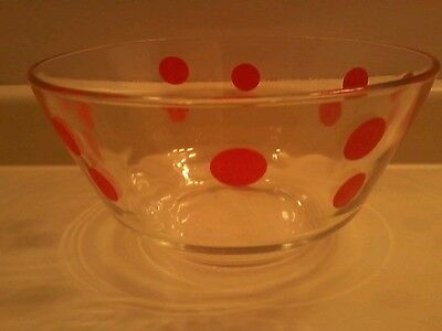 Vintage Glass Red Polka Dot Bowl Ice Bucket Retro mid century