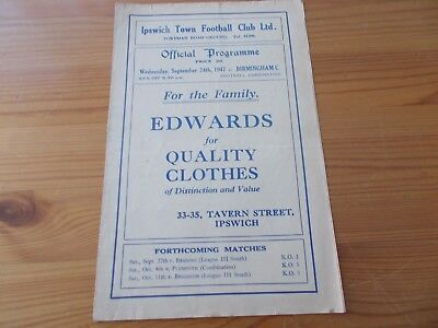 Ipswich Res v Birmingham Res programme dated 24-9-1947.        (R007)