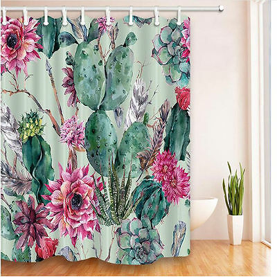 Modren Cactus Bathroom Curtain Polyester Waterproof Shower Curtain Set 5879HC