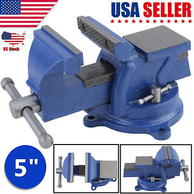 """Heavy Duty 5"""" Work Bench Vice Vise Workshop Clamp Engineer Jaw Swivel Base Table"""