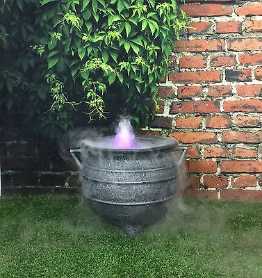 Witches Ultra Sonic Mist Maker Halloween Cauldron 12 Inch Cast Iron Effect /