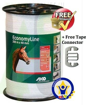 ELECTRIC FENCE TAPE 40mm x 200 Metres White Poly Fencing Horse Paddock connector