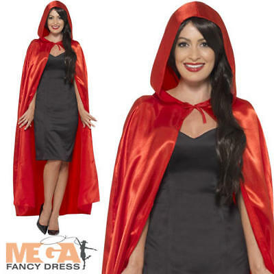 Satin Red Hooded Vampire Cape Ladies Mens Adult Fancy Dress Costume Accessory