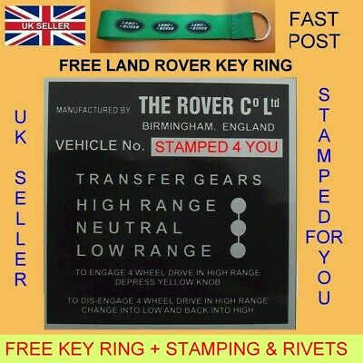 Land Rover Series 1 2 88 109 Bulkhead Gear/Transfer Box Vin chassis id plate