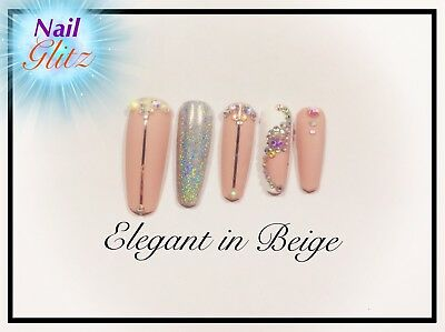Hand Painted Elegant In Beige & Holo Fake Press On coffin/ballerina shaped Nails