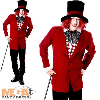 Dark Mad Hatter Mens Fancy Dress Fairytale Dickens Halloween Adults Costume