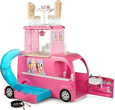 Barbie Camper Vehicle Pop-Up Playset Christmas Birthday Gift Kids Toy Girl New