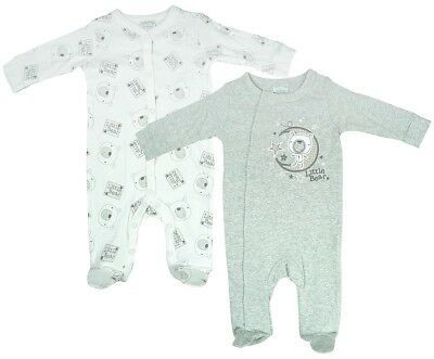 Boys Baby PACK OF 2 Bear Moon Stars Sleepsuit Cotton Rompers Newborn to 6 Months