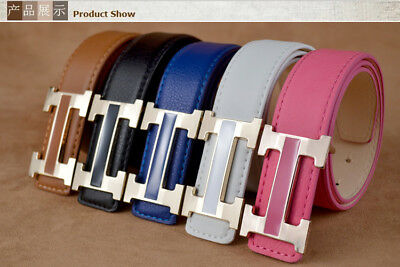 New fashion concise children waistband H buckle metal leather belt for girl boy