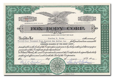 Fox Corporation Stock Certificate (Snowmobiles)