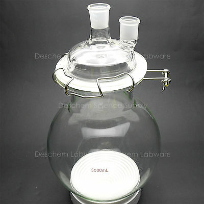 5000ml,Glass Reaction Flask,24/29,Two-Neck,5L,Round Bottom Chemistry Reactor