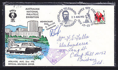 Souvenir Cover :  1972  Anpex  Hovercraft Mail Signed By Commander  R. Taylor