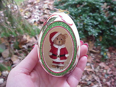 REAL Hand Decorated Carved Goose Egg Christmas Tree Ornament Gift Santa Bear #4