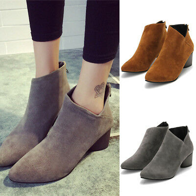 New Womens Fashion Suede Heels Casual Winter Warm Shoes Snow Ankle Boots