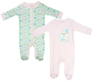 Girls Baby PACK OF 2 Little Birdy Sleepsuit Cotton Rompers Newborn to 9 Months
