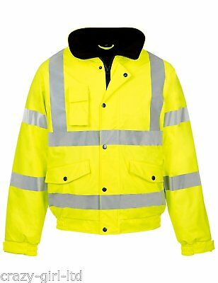 Mens Hi Viz Visibility Security Work Padded Waterproof Bomber Jacket Warm Coat