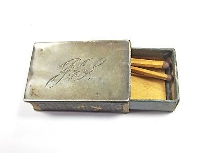 Antique sterling silver Victorian match box case matchbox vesta engraved 1901 JS