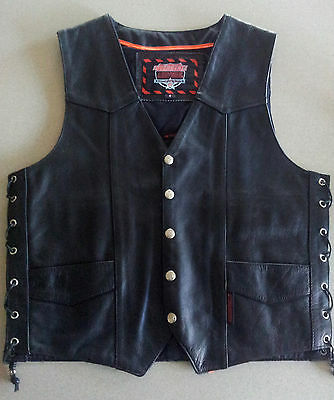 Mens leather biker motorcycle vest Size Interstate leather USA