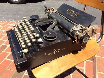 """Antique VERY VERY EARLY no#4880 Royal Standard No.1-""""R"""" Side Stencil Typewriter"""