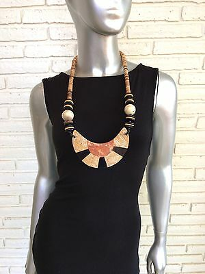 Vintage African Tribal Hand Carved Stone Safari Large Necklace Beaded
