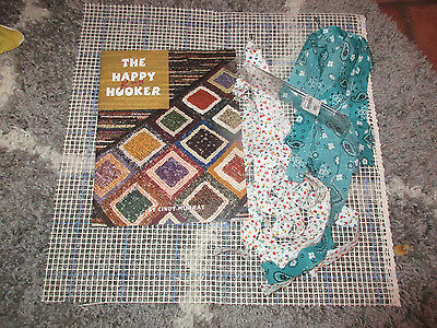 """THE HAPPYRUG  HOOKER ""Locker Hook Rug beginning kit.Book canvas, hook fabric"