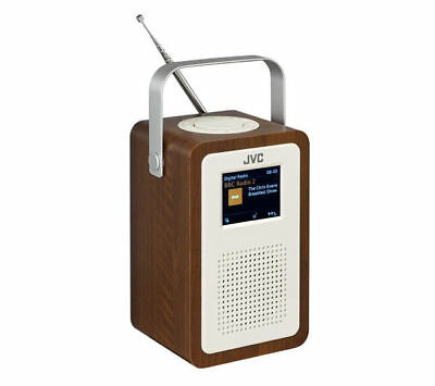 "Jvc Ra-D57 Portable Dab+ Fm Clock Radio Wood & Cream Finish 3.2"" Lcd Display"
