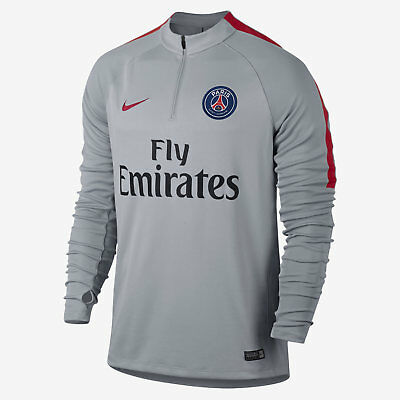 New Mens Nike Paris Saint Germain PSG Football Squad Drill Top S 809738 013 Grey