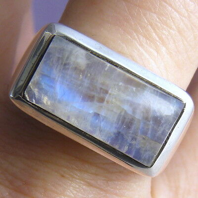 GEM-BAR Contemporary UNISEX Ring Size US 8 Solid 925 Stg Silver & MOONSTONE